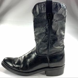 Laredo Black Leather Ropers Mens Sz 9